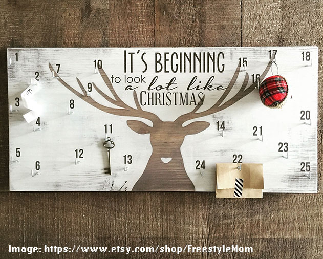 Advent calendar, christmas countdown sign, deer antler decor - FreestyleMom