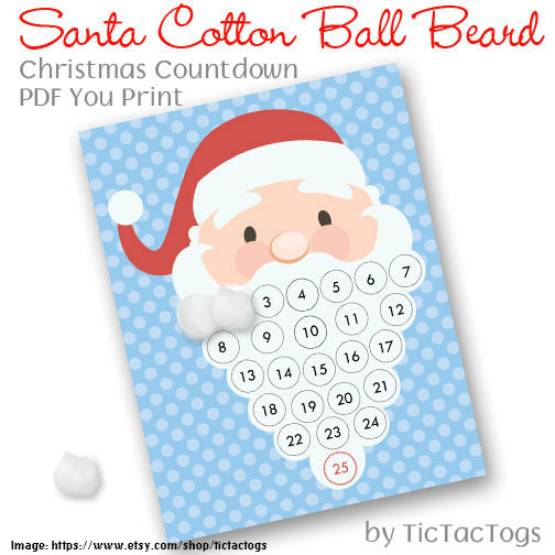 Santa Christmas Countdown Advent Calendar Cotton Ball Beard PDF - Tictactogs